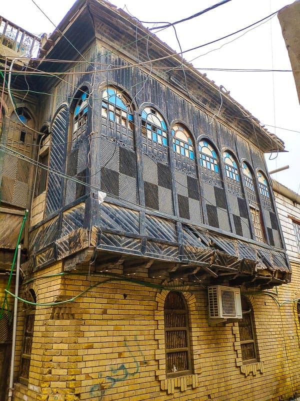 a beautiful wood carved Shanasheel in a old alley Basra in Iraq