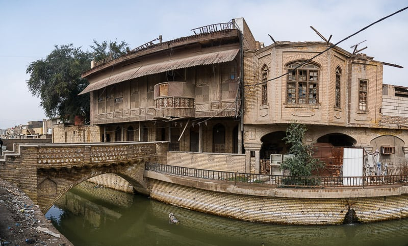 A old bridge across one of the small canals in old Basra in Iraq