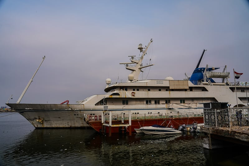 Saddam Husseins old yacht, the Ocean Breeze is anchored up by the shore of the Shatt al-Arab river and now used as a hotel for local sailors.