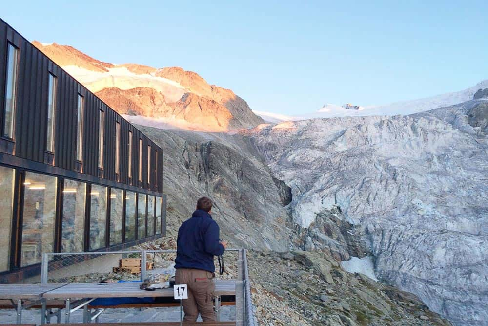 View of the Moiry glacier from the Cabane Moiry in Switzerland