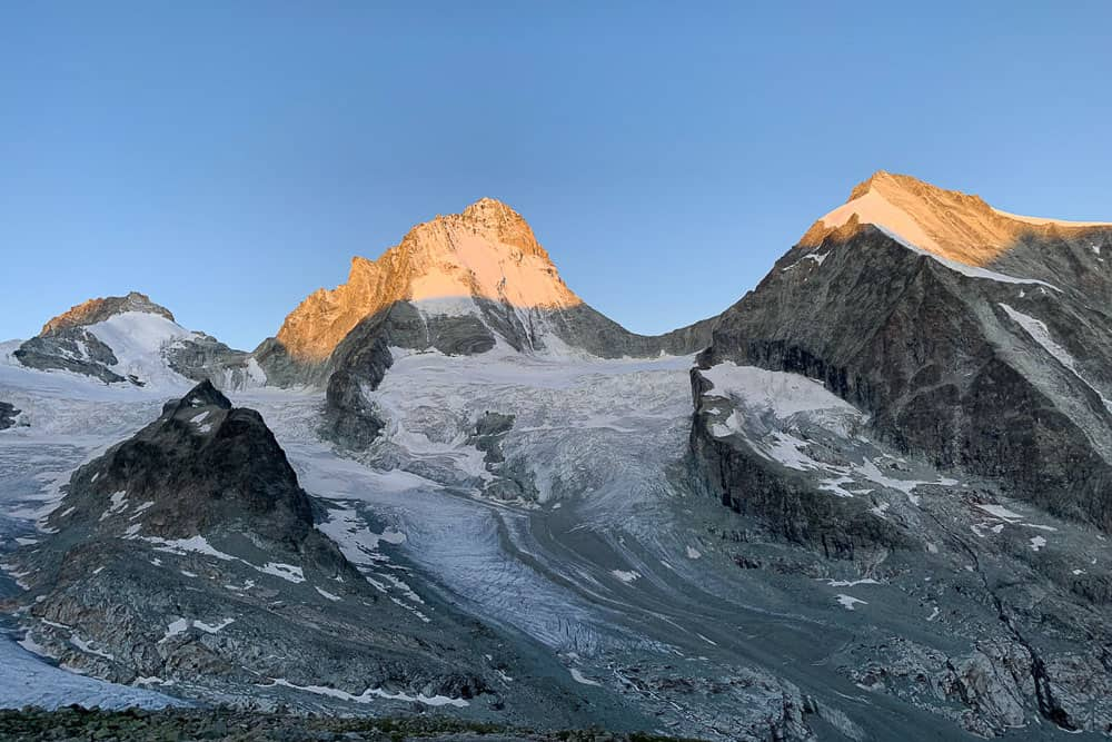 Sunrise on the Dent Blanche and Zinal Glacier in Switzerland