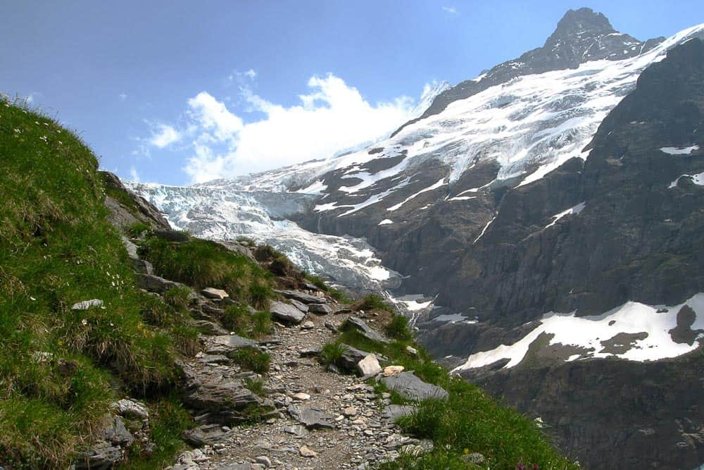Almost at the top, with the Obere Grindelwald glacier in the distance in Switzerland