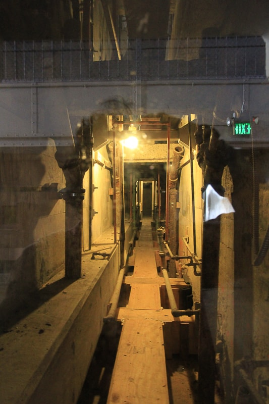 Unguarded utility corridor behind the escapees' cells