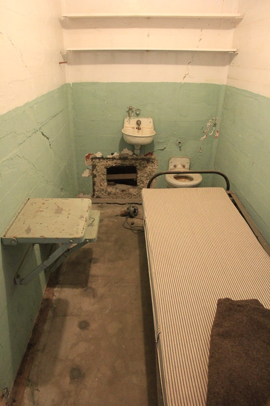One of the cells from the famous 1962 escape. They escaped through the air went in the back.travel guide
