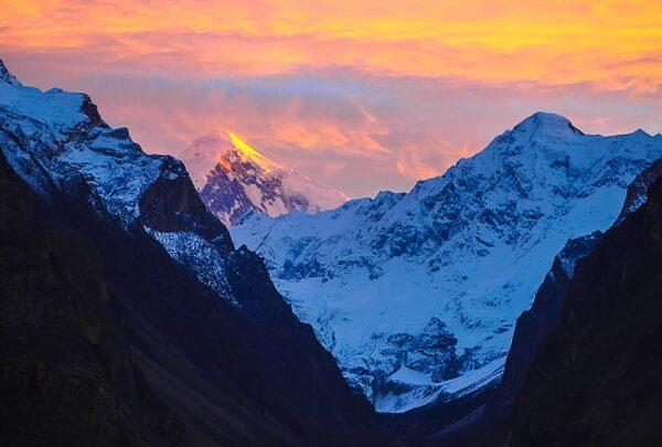 hunza valley sunset pakistan