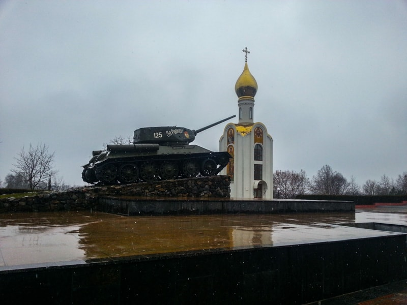 The Tank Monument of a Soviet tank in central Tiraspol the capital