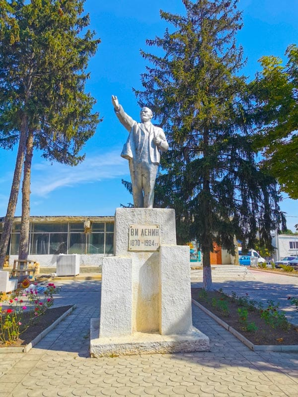 a silver Lenin statue in Transnistria one of many in the state