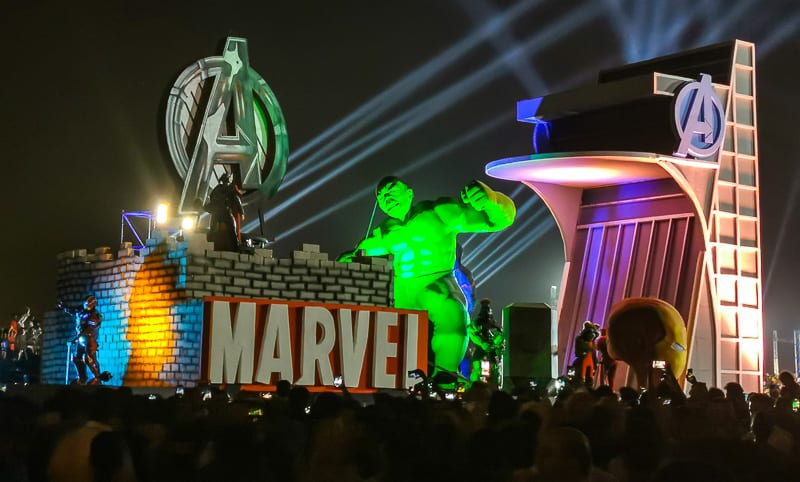 There was even a Marvel float with all the super heroes.