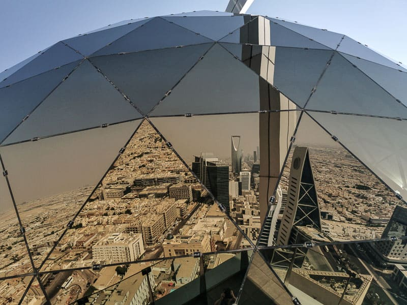 The Globe is the golden ball on top of Al Faisaliyah Centre, a great relection of Riyadh