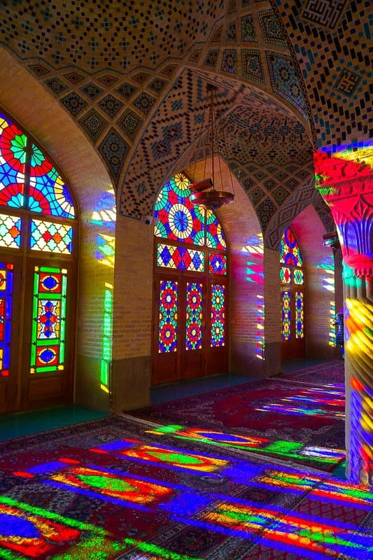 Inside the beautiful Nasir Al-Molk Mosque, also known as the Pink Mosque.