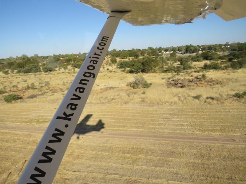 taking of and flying in Botswana