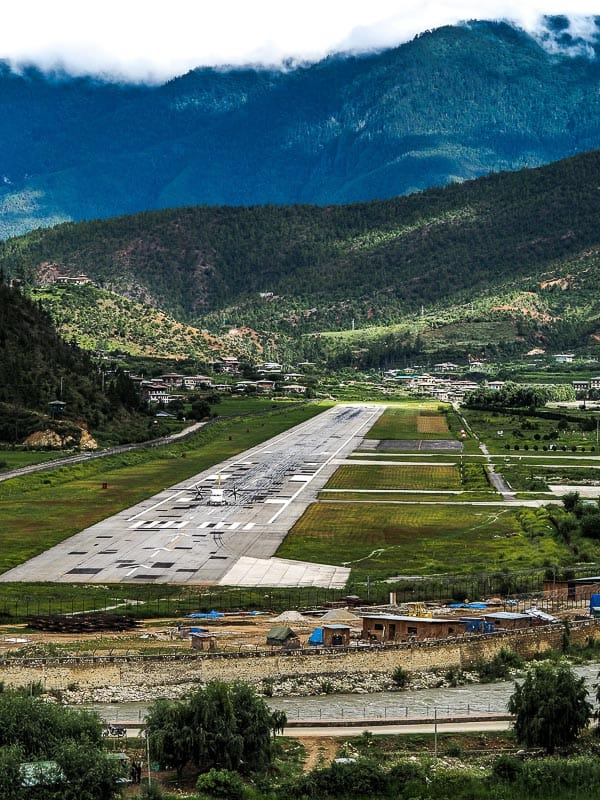 Paro Airport the only big airport in Bhutan