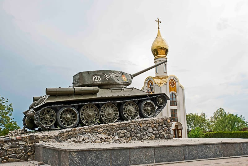 the Tank Monument of a Soviet tank in central Tiraspol in Transnistria
