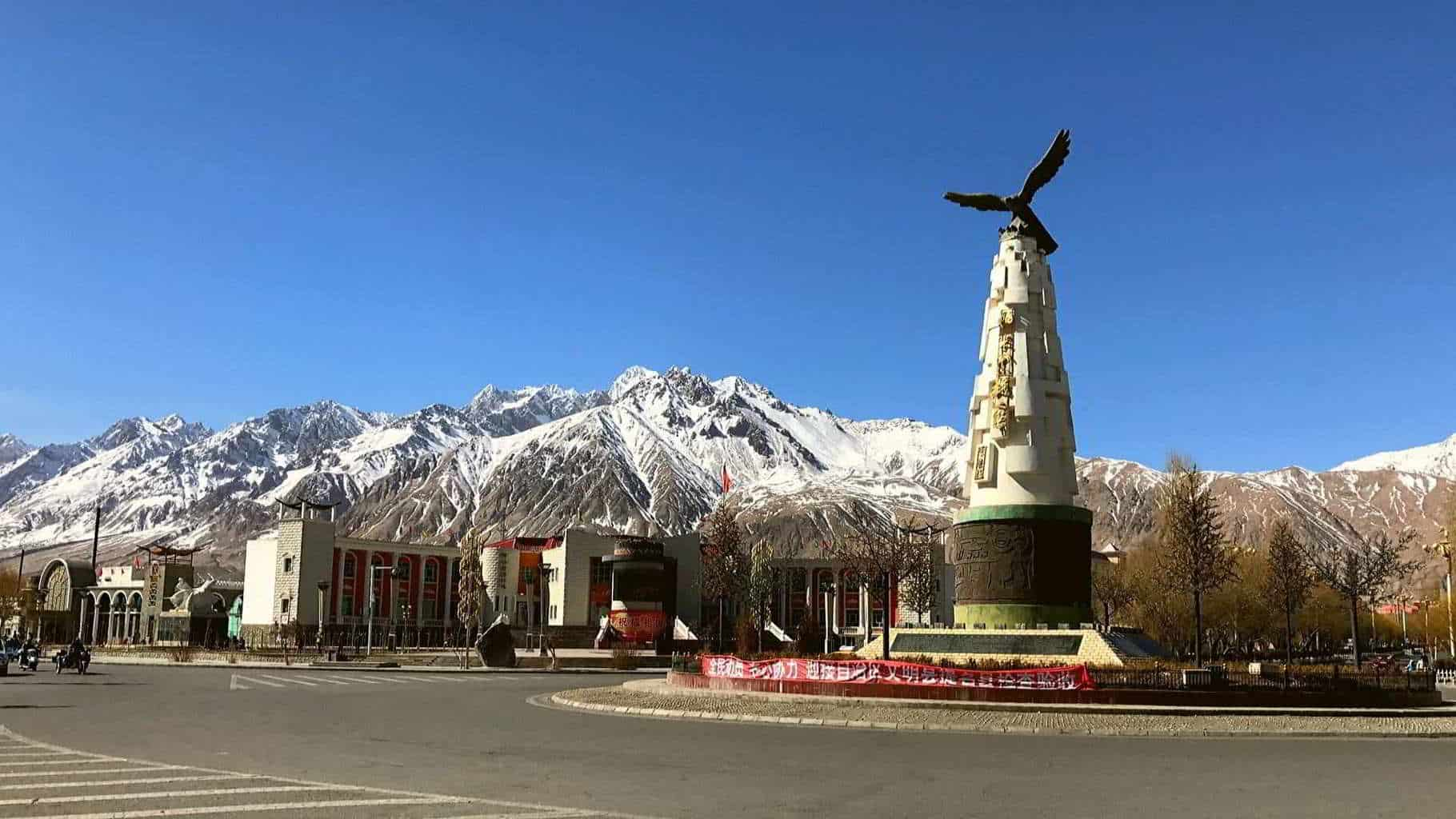 the Flying Eagle monument in the centre of Tashkurgan west china