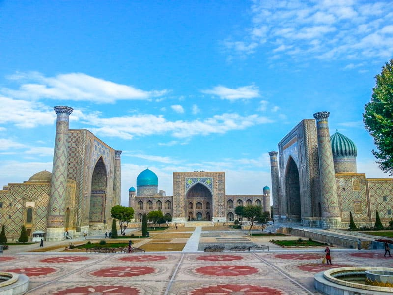 The amazing Registan one of the most important buildings on the histoic silk road in uzbekistan and central asia