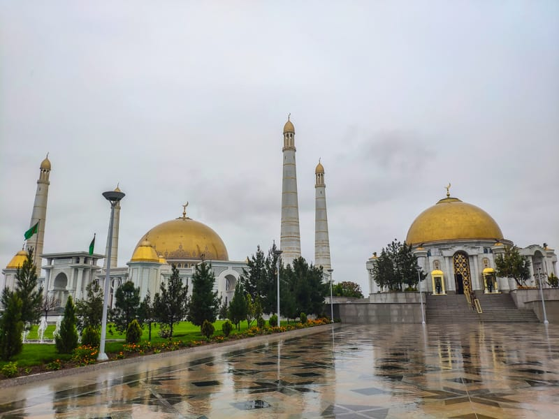 The Mausoleum to Saparmurat Niyazov the first president of Turkmenistan next to the Türkmenbaşy Ruhy Mosque