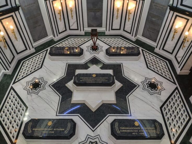 Inside The Mausoleum to Saparmurat Niyazov the first president of Turkmenistan.