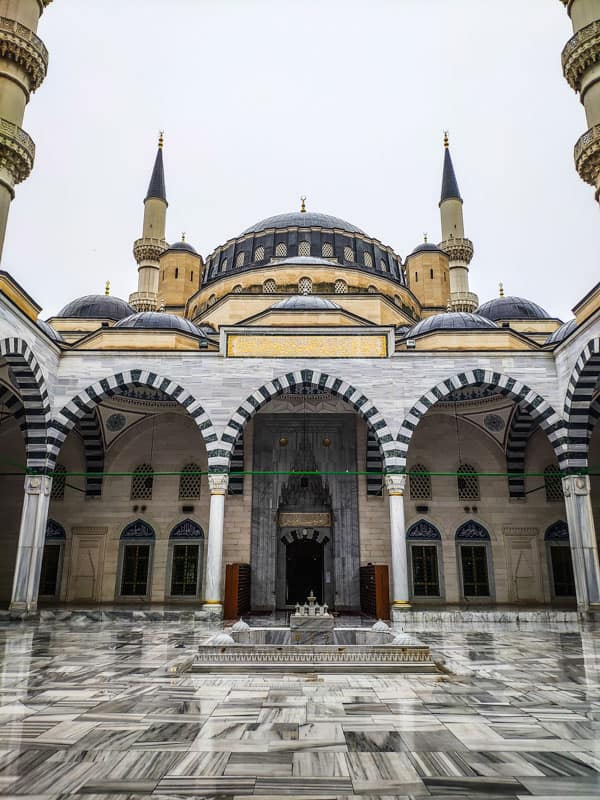 Ertuğrul Gazi Mosque which is built like the Blue Mosque in Istanbul in Ashgabat