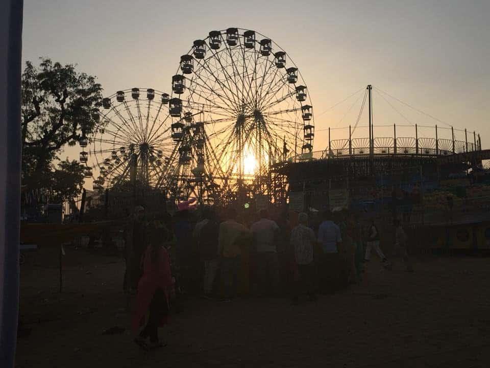 Two ferris wheel in Pushkar