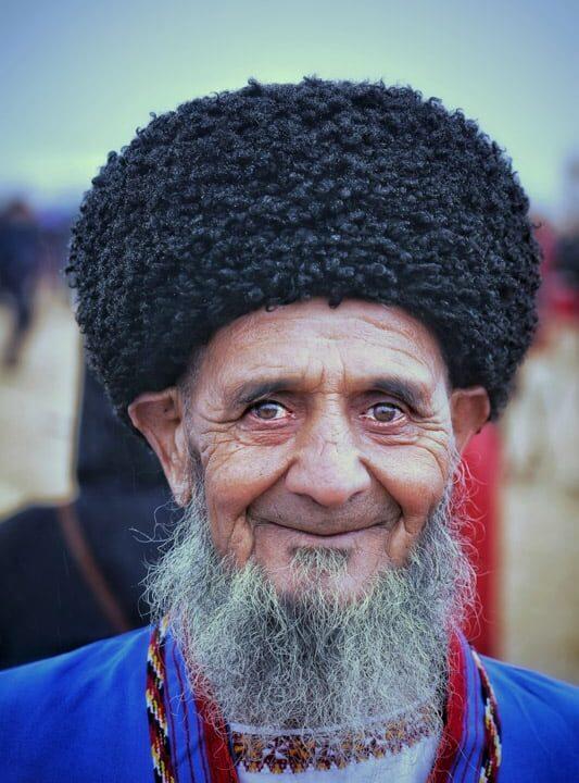 Older local men always often wear a traditional hat called a Astrakhan Hat in turkmenistan