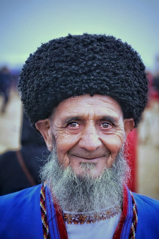 Older local men always often wear a traditional hat called a Astrakhan Hat
