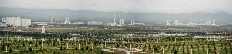 Ashgabat city view from the Wedding Palace in Turkmenistan