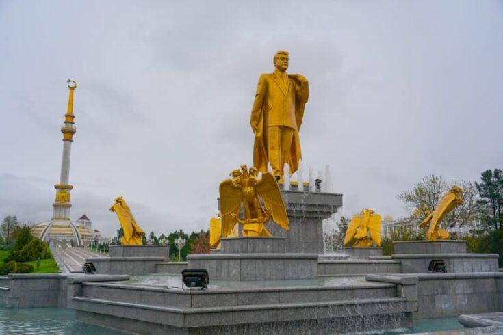 Golden statue in Turkmenistan