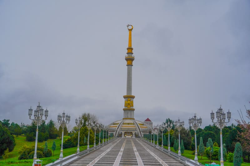 The independence Monument in Ashgabat Turkmenistan
