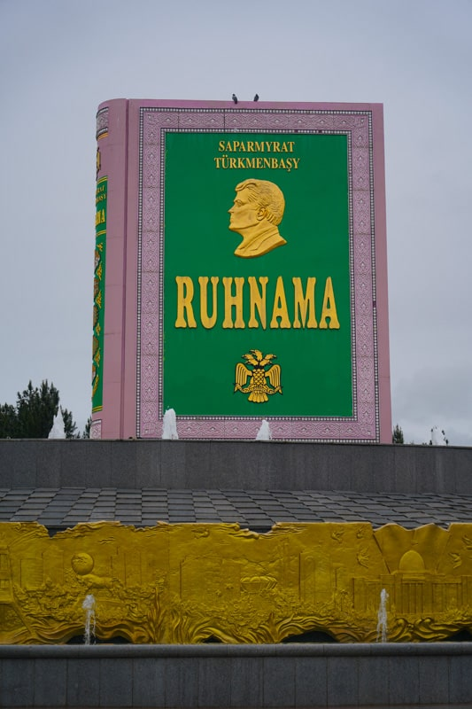 The statue of the Ruhnama in Turkmenistan