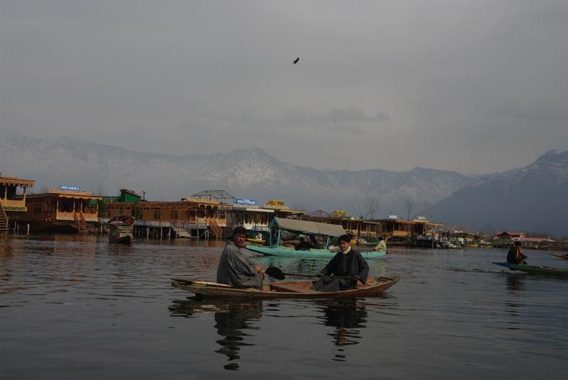 местные жители катаются на лодке по озеру дал Сринагар