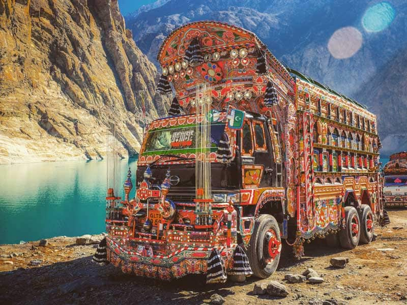 A Typical Pakistan truck in northern Pakistan.