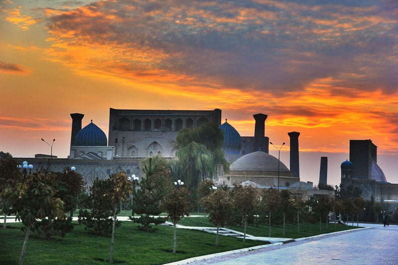 Sunset over Registan in Samarkand, Uzbekistan