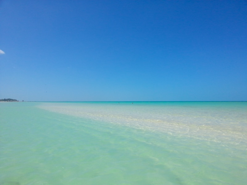 The crystal clear water around Isla Holbox
