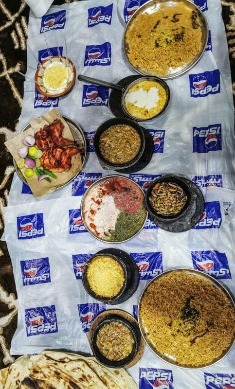 a typical local dinner in Saudi Arabia