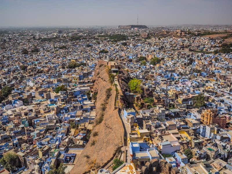 The view over the blue city in Jodhpur in India