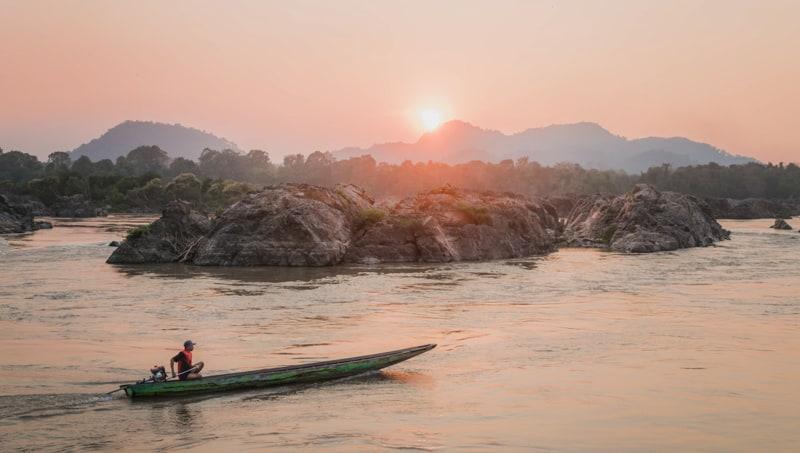 sunset in don khon 4000 islands beach