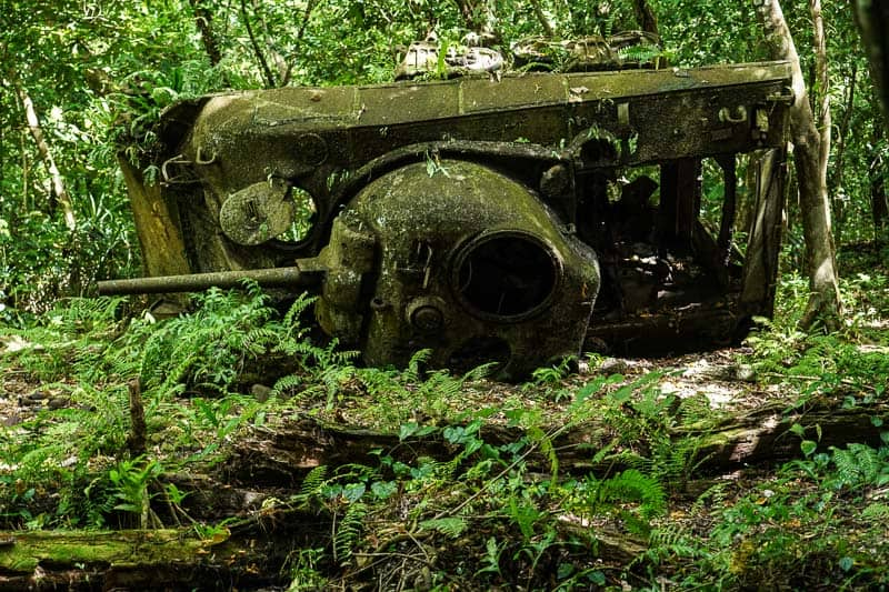 a knocked over American Sherman tank from WW2 on Peleliu memorial