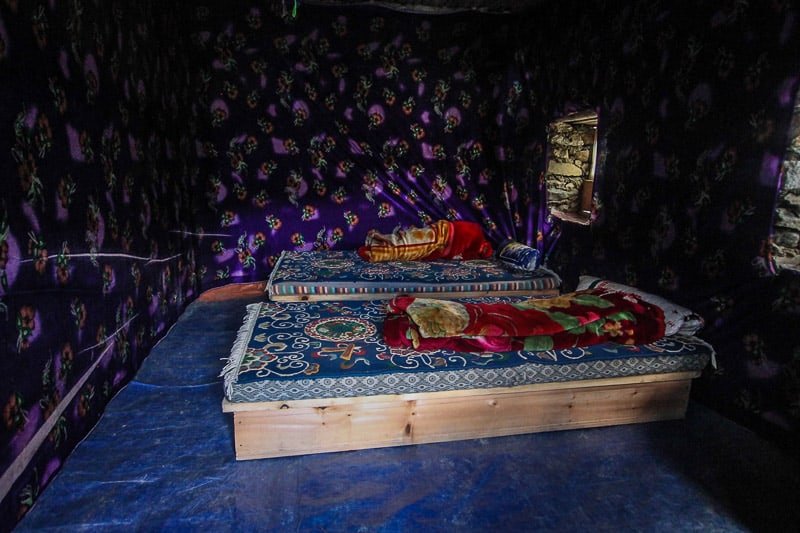 typical beds in nepal in the himalays