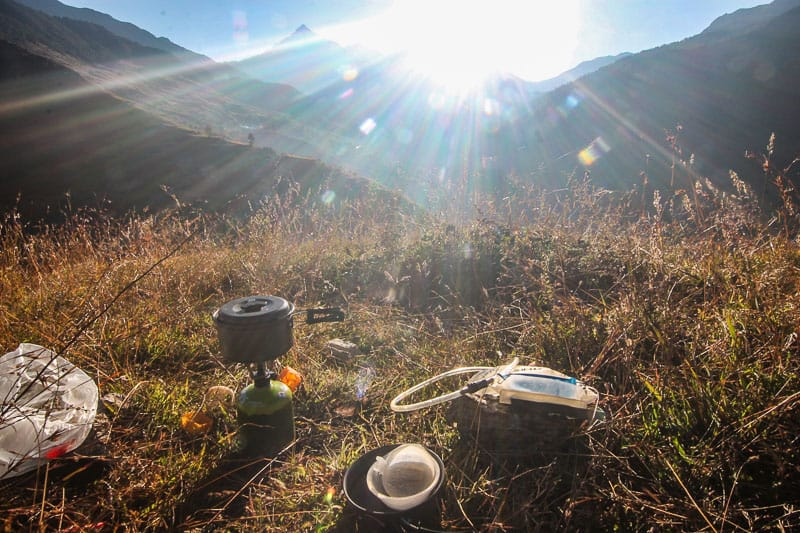 camping and cooking in nepal
