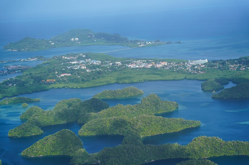 Koror from the air in Palau