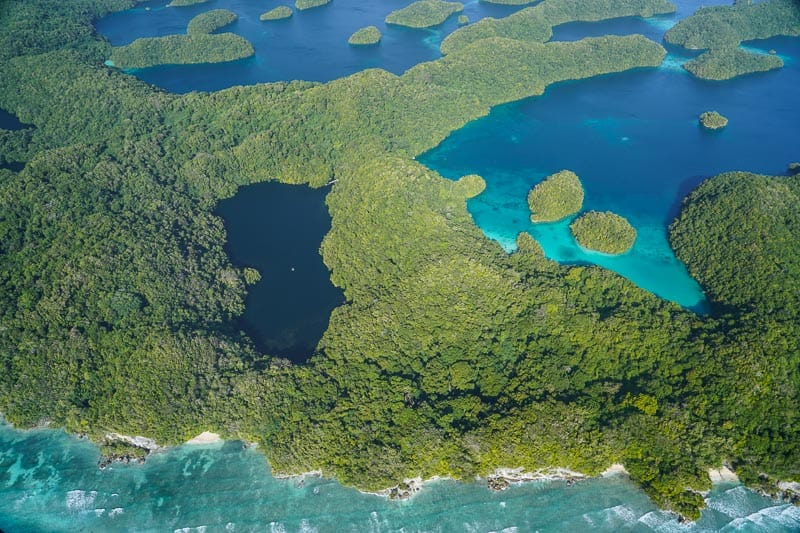 Jelly Fish Lake in Palau from the air