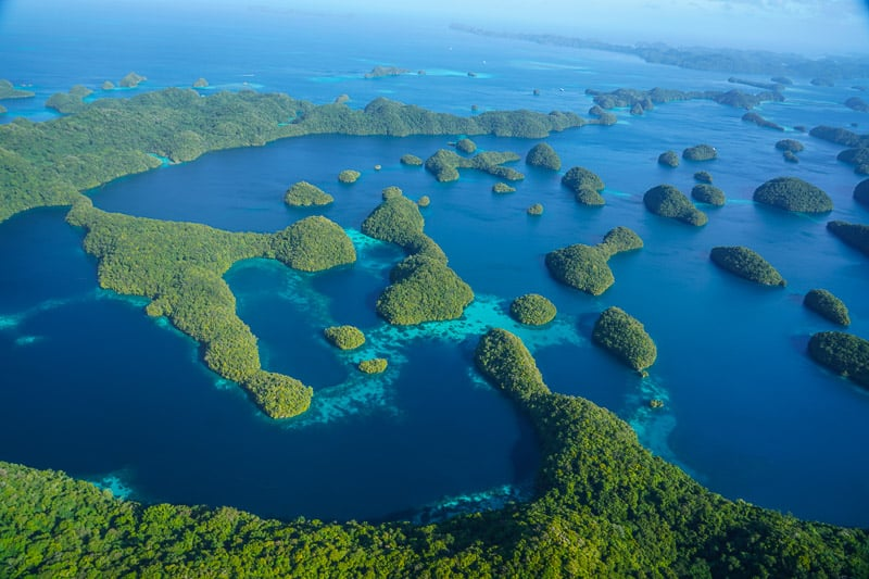 Palau from the air, pure paradise