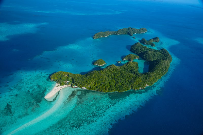 Long Beach seen from the air, maybe the most beautiful beach in all of Palau pure paradise