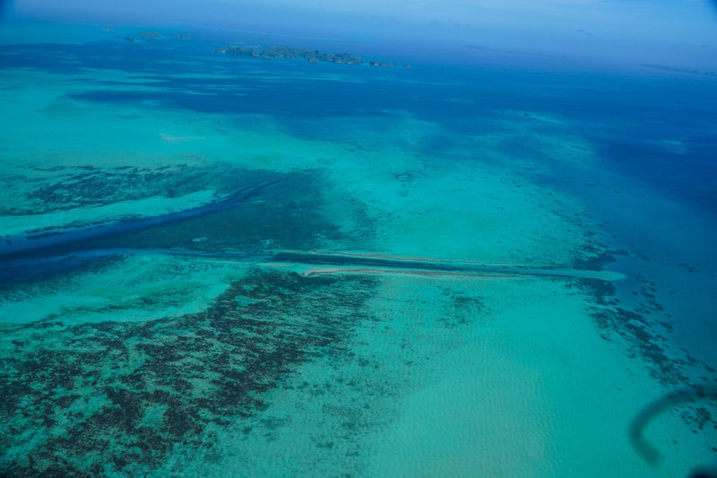 View from my scenic flight, The German channel, one of the best dive sites in the world and home to manta rays