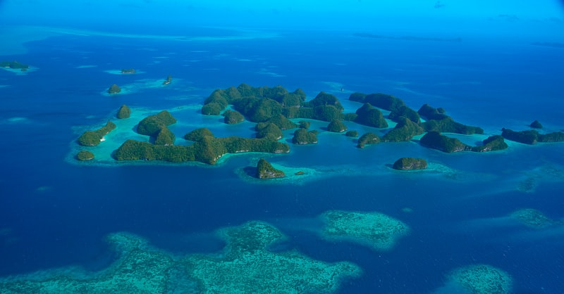 Seventy Island in the rock island Palau, a nesting site for sea turtles. And off limit for people. protected area