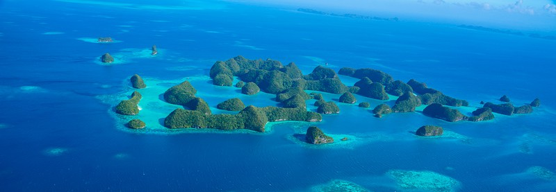 Seventy islands in palau from the air in rock islands