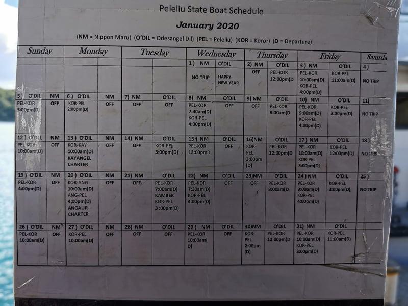 Palau ferry schedule