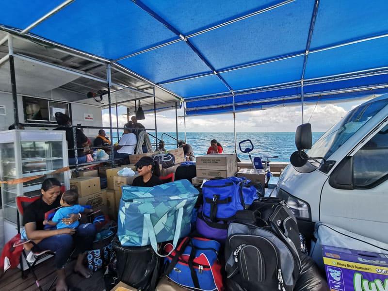 it can get crowded on the Nippon Maru II in Palau