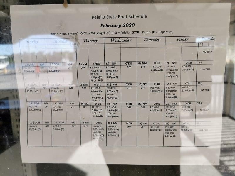 Palau local ferry schedule to Pelilue