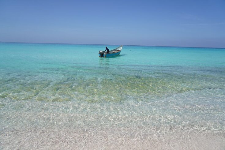 s boat off the shore of Shu'ab in western Socotra.